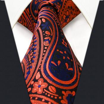 P18 Paisley Orange Navy Mens Neckties Ties Extra Long Size 100% Silk Jacquard Woven Brand New