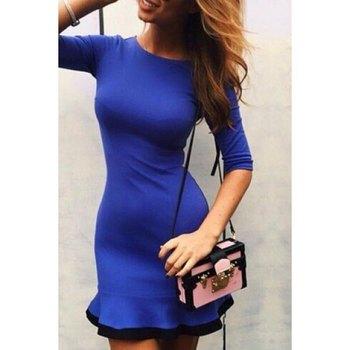 Elegant Round Neck 3/4 Sleeve Ruffled Dress For Women
