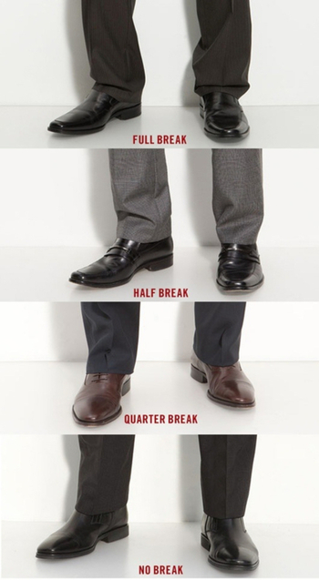 How your pants sit on your shoes is extremely important. Heres four options. | Raddest Men's Fashion