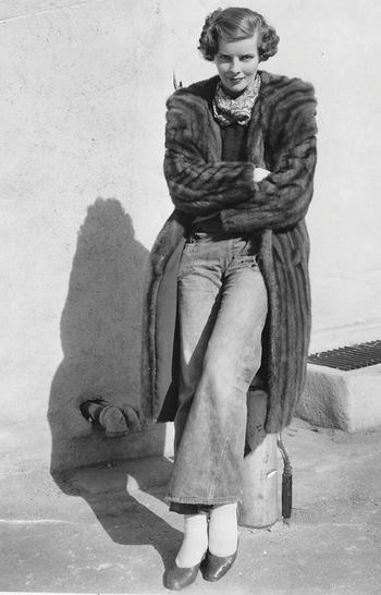 Katharine Hepburn on the RKO lot, c.
