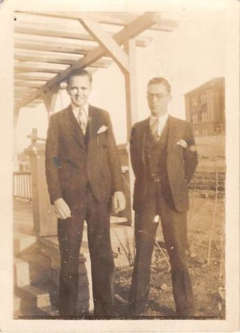 Photograph Snapshot Vintage Black and White: 2 Men Suits Smile Yard 1920's