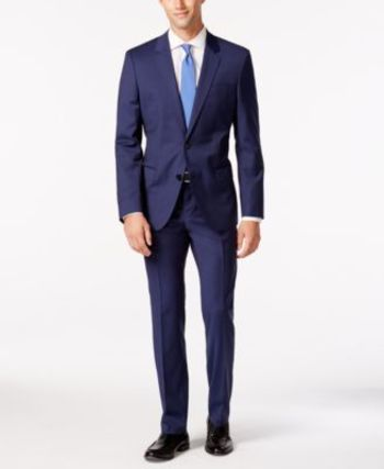 HUGO by Hugo Boss Men's Medium Blue Tonal Stripe Slim Fit Suit - Suits & Suit Separates - Men - Macy's