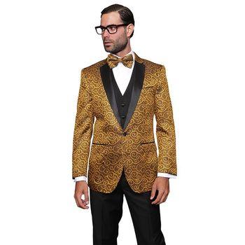 Men's Wool Bellagio Gold 3-piece Tuxedo Suit   Overstock.com Shopping - The Best Deals on Suits