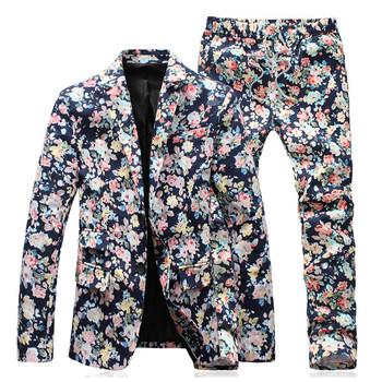 Men Suits Elegant Floral Blazer Jacket Slim Fit Two Button Casual Mens Blazers 2016 Spring Plus Size 5XL Flower Blazer For Men