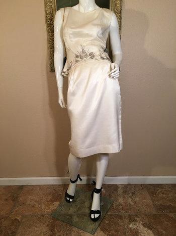 60s Vintage Chic Short Evening Dress. Ivory Silk Beaded Top & Skirt 2 pc. Gown. Elinor Gay Original Retro Midriff Bride MOB Wedding Suit.M L