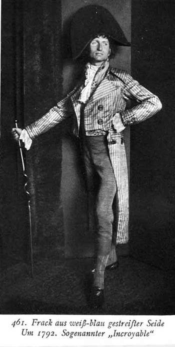 "Les Incroyables meaning ""incredible"" describing men in the 1800's who dressed extravagantly , had sha"