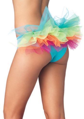 sextoyspub - Spandex Tanga Panty with Rainbow Tulle Ruffle Back