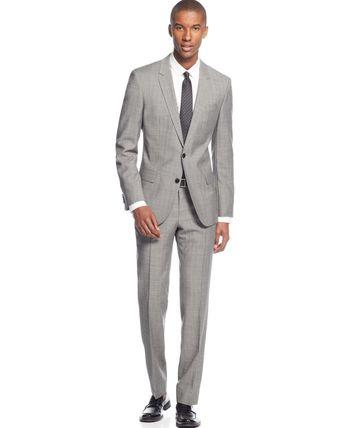 Boss Hugo Boss Light Grey Crepe Slim-Fit Suit