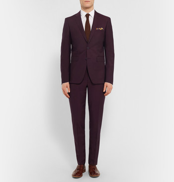 Burberry London - Burgundy Slim-Fit Wool And Mohair-Blend Suit Trousers