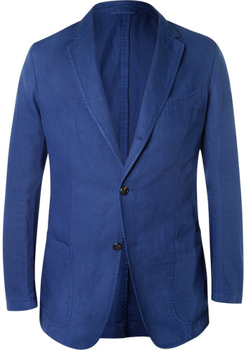 $1,150, Dunhill Navy Fitzrovia Cotton And Linen Blend Twill Blazer