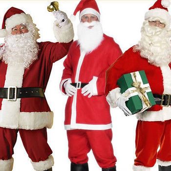 Father Christmas Santa Claus Mens Fancy Dress Costume Suit Outfit   Beard | Men's Fancy Dress | Fancy Dress