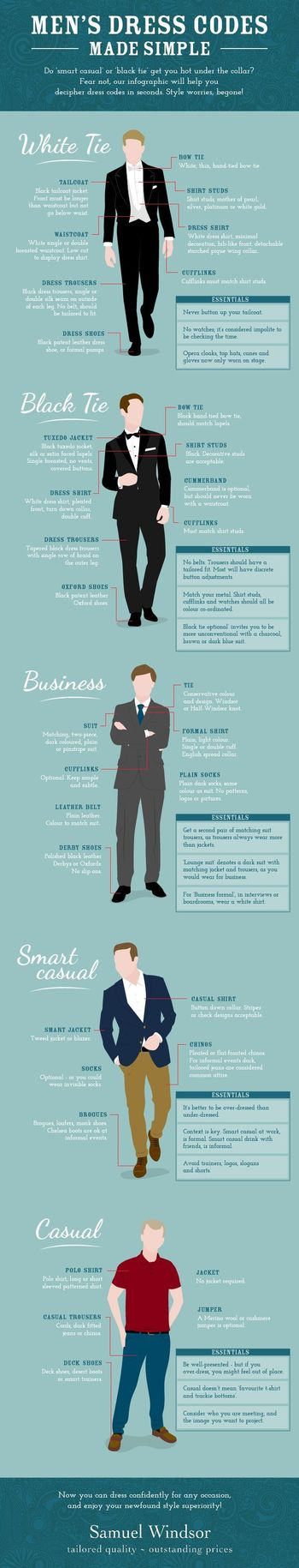 Men's Dress Codes #infographic