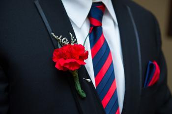 #boutonniere #tie #suit #groom #red #navy #wedding