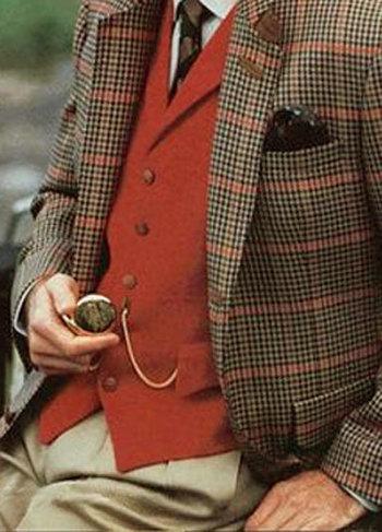 Dark red vest and pocket watch