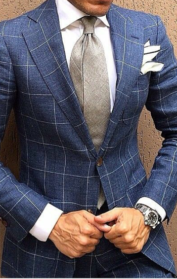 tailored windowpane blue suite w/bold pocket square | Raddest Men's Fashion Looks On The Internet: ht