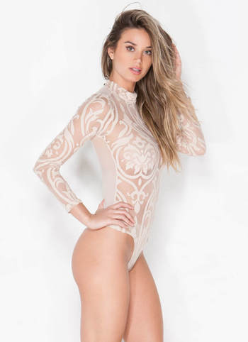 On The Filigree Sheer Bodysuit TAUPE