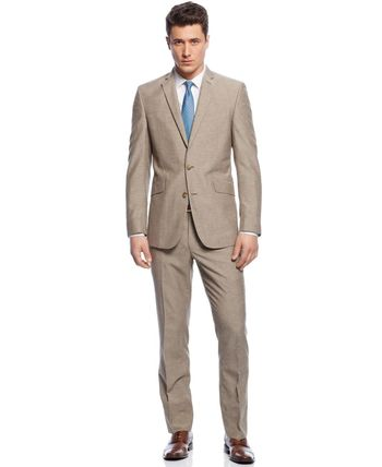 Kenneth Cole Reaction Tan Stripe Slim-Fit Suit - Suits & Suit Separates - Men - Macy's