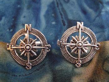 Nautical Steampunk Compass Cufflinks Silver Mens by