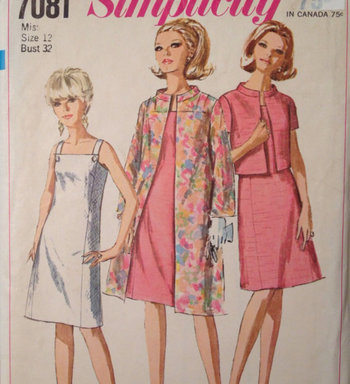 1960's Sundress Coat and Jacket with mandarin collar Vintage Simplicity 7081 Pattern