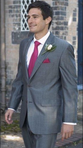 dark grey suit, fuschia tie | Wedding Ideas | Pinterest