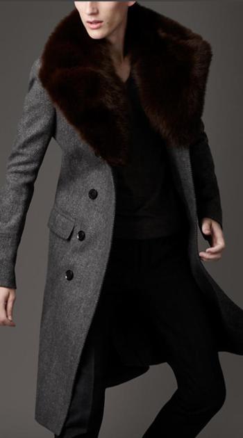 burberry fur overcollar pea coat. designed for