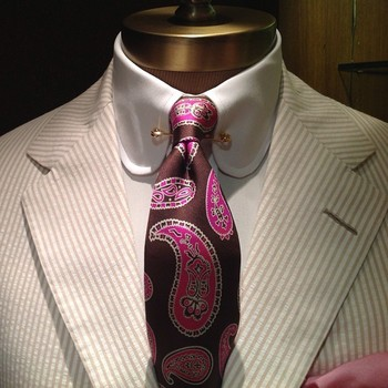 Gold-Pinned Club Collar White Shirt with a Burgundy and Pink Bold Paisley Tie and Pink Pocket Square