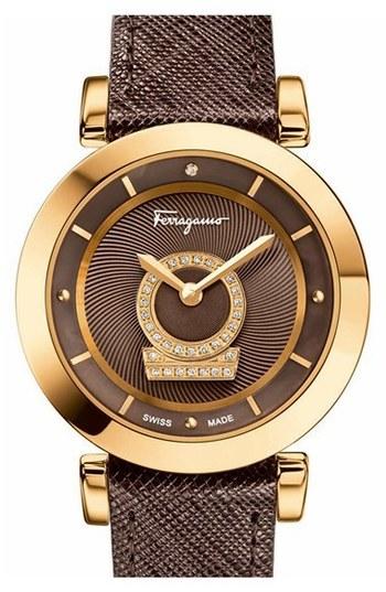 Salvatore Ferragamo 'Minuetto' Calfskin Leather Strap Watch, 37mm | Nordstrom