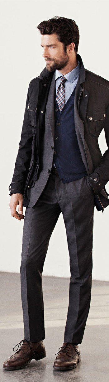 Handsome Brown Woll Fitted Suit, Parka, and