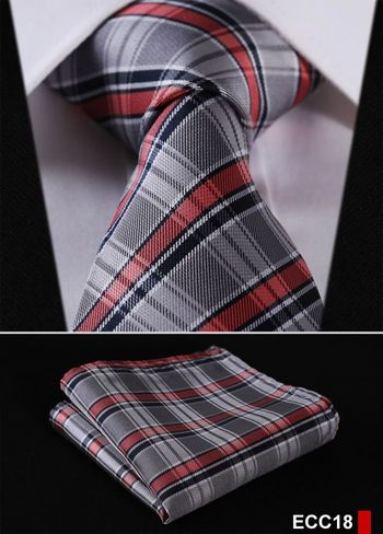"PLAID NECKTIE Stripe 3.4""100%Silk Wedding Jacquard Woven Necktie Pocket Square set"