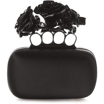 Alexander McQueen Rose Knuckle-duster satin clutch
