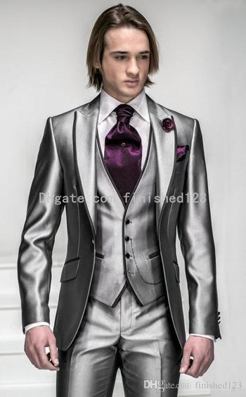 New Style One Button Shiny Silver Grey Groom Tuxedos Groomsmen Men'S Wedding Suits Best Man Suits Jacket+Pants+Vest+Tie Bm:925 Mens Tux Shirt Mens Tux Shirts From Finished123, $81.68| Dhgate.Com