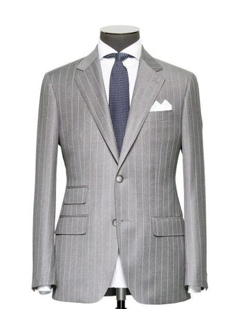 Tailored 2-Piece Suit - Fabric 4003 Stripes Grey