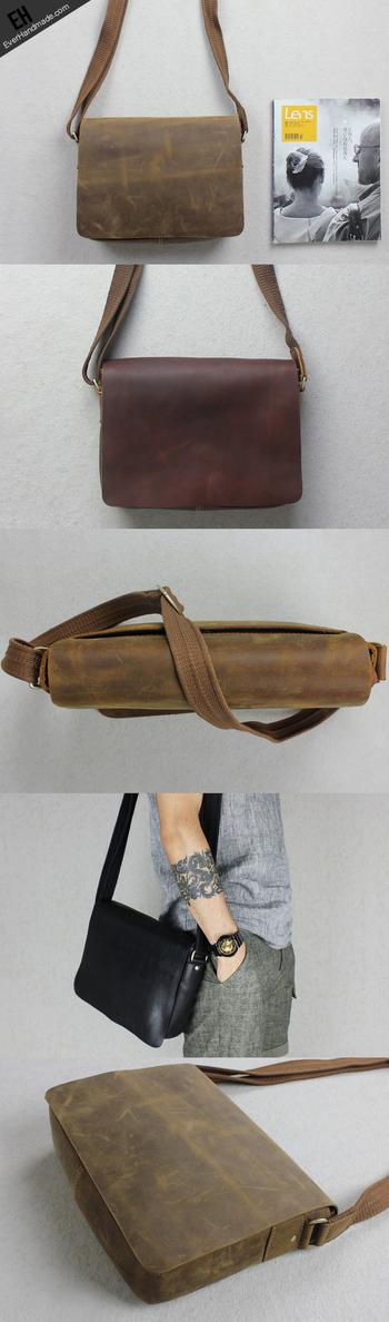 Handmade leather men Briefcase messenger Brown Black shoulder bag vintage bag for him