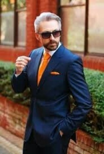 Men's orange and blue suit