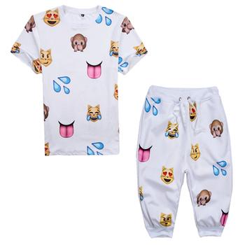Harajuku 2015 Summer style 100 emoji Print 3d t shirt+shorts men/woman 2 piece Sports suit camisetas size plus S-XXL 4 color - Apparel Case