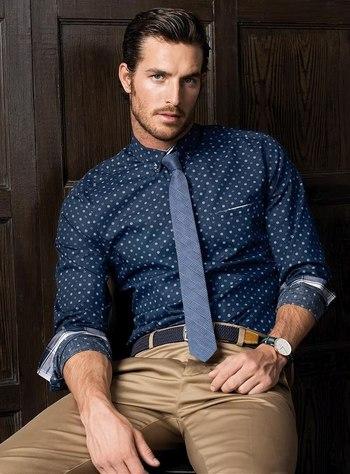 Glen plaid skinny tie + polka dot