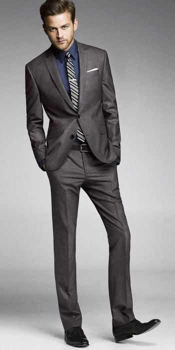 Charcoal grey tailored suit - this should be the first suit in your wardrobe. Can be worn to work or