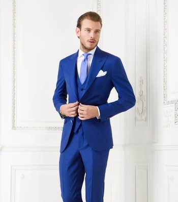 (Jacket+Pant+Vest) Ternos Man Business/Groom Suit Handsome Men Slim Fit Tuxedos Royal Blue Wedding Suits Custom Made -in Suits from Men's Clothing & Accessories on Aliexpress.com | Alibaba Group