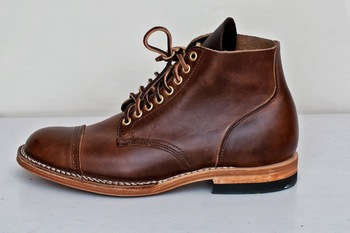 Viberg 1950 Service Boot Icy Mocha CXL Brogue Toe Cap 8 Eyelets (Brass) Brown Thread Natural Midsole/
