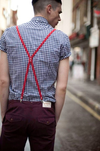 Mens Fashion: Red Suspenders and Blue Checkers