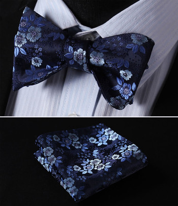BF3001B Navy Blue Floral 100%Silk Men Butterfly Self Tie Bow Tie Pocket Square Set