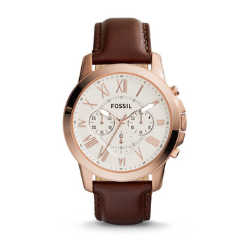 Grant Chronograph Leather Watch - Brown
