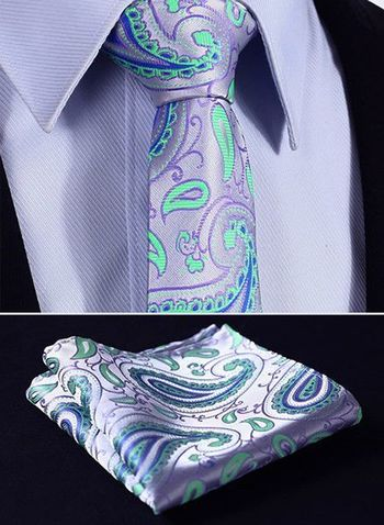 "TP918G7 Green Purple skinny floral 2.75"" 100%Silk Woven Slim Skinny Narrow Men Tie Necktie Handkerchief Pocket Square Suit Set"