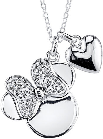 JCPenney - DISNEY Disney Minnie Mouse Crystal Silver-Plated Pendant Necklace