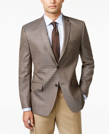 Marc New York by Andrew Marc Men's Brown and Grey Check Slim Fit Sport Coat - Blazers & Sport Coats - Men - Macy's