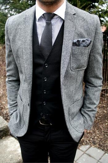 Wool Blazer + Black Vest + Black