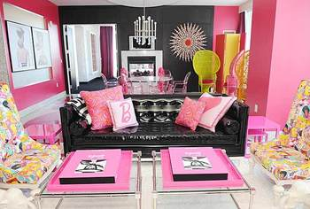 hot pink and black looks good with some pops of yellow or some other bright colors too as you can see