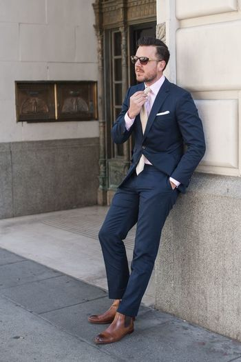 blue suit with brown shoes - Google