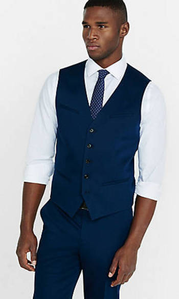 Slim Photographer Cotton Sateen Navy Suit from EXPRESS