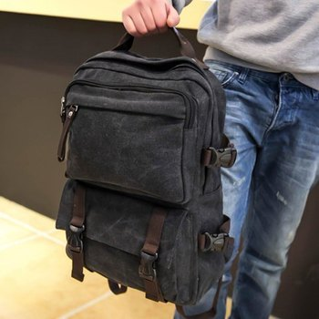 Casual Men's Backpack With Canvas and Zipper Design